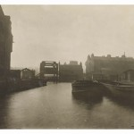 View of the Union Canal showing barges and steel bridge, Fountainbridge